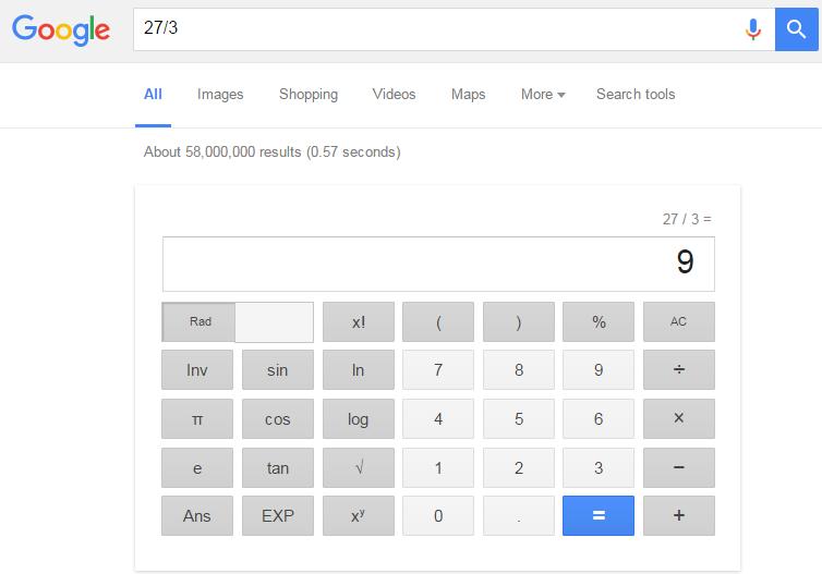 محاسبه کردن در گوگل