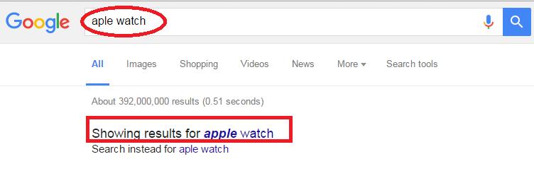 تایپ اشتباه در گوگل